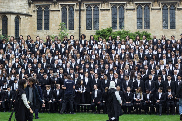 Students at St Cross College matriculating
